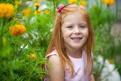Close up, portrait of little red headed girl Stock Photo