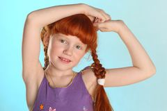 Close-up portrait of little redhead pre-teen fashion girl-model royalty free stock photo