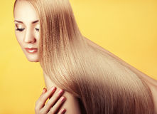 Close-up portrait with long hair. Royalty Free Stock Image