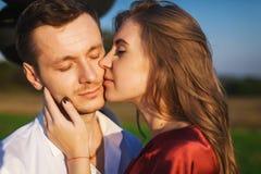 Close up portrait of in love couple celebrating honeymoon Stock Photo