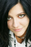 Close-up portrait of lovely brunette Stock Photo