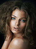 Close up portrait of lovely caucasian girl royalty free stock image