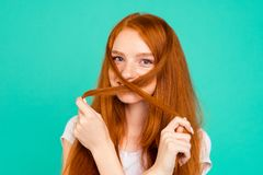 Close up portrait of lovely, sweet lady cross-hair in front of f stock photography