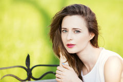 Close up portrait of lovely urban girl outdoors Stock Photography