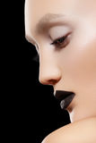 Close-up portrait. Make-up trend, rock black lips Royalty Free Stock Images