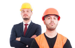 Close-up portrait of male engineer and architect Stock Images
