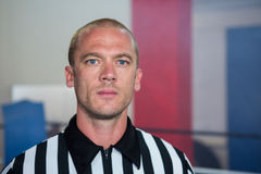 Close-up portrait of male referee. At fitness studio Stock Images