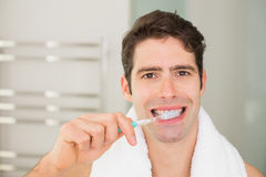Close up portrait of man brushing teeth in bathroom Royalty Free Stock Image