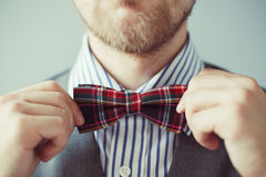 Fashion photo of a bearded man correcting his bowtie Stock Photos