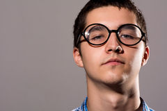 Close-up portrait Man in glasses with a serious expression on hi Royalty Free Stock Image