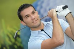 Close up portrait man on golf course. Close up portrait of man on golf course Royalty Free Stock Photos
