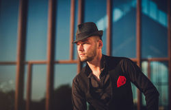 Close-up portrait of a man in a hat with a beard. hipster. Looking away. copy space Royalty Free Stock Photos