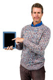 Close-up portrait of man holding digital tablet Royalty Free Stock Image