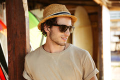 Close up portrait of a man in sunglasses and hat Royalty Free Stock Images