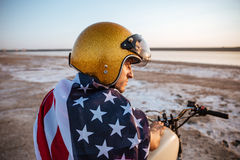 Close up portrait of man wearing helmet and american flag Royalty Free Stock Photography
