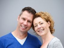 Close up portrait of a middle aged couple smiling royalty free stock photo