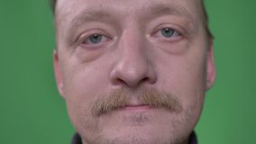 Close-up portrait of middle-aged man with beard and moustache watching calmly on green background. stock footage