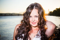 Close up portrait of model wirh curly long hair. Royalty Free Stock Photos