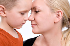 Close-up portrait of mother and son Stock Image