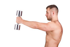 Close-up portrait of Muscular guy doing exercises with dumbbells over white background Stock Image