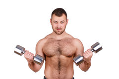 Close-up portrait of Muscular guy doing exercises with dumbbells over white background Royalty Free Stock Image
