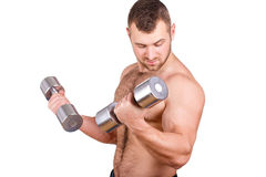 Close-up portrait of Muscular guy doing exercises with dumbbells over white background Royalty Free Stock Photo