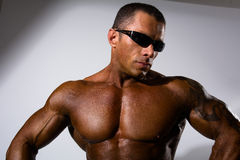 Close-up portrait of a muscular man. Athletic man naked torso wearing sunglasses in the studio Royalty Free Stock Photography