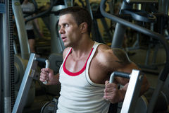 Close-up portrait of a muscular man in the gym Royalty Free Stock Photography
