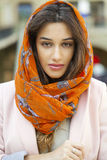 Close up portrait of a muslim young woman wearing a head scarf Stock Photo