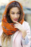 Close up portrait of a muslim young woman wearing a head scarf Stock Photos
