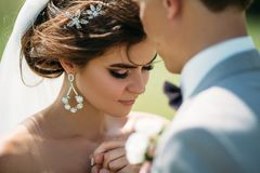 Close-up portrait of newlyweds on wedding day. The bride hugs with the groom before the kiss. Man in business suit and royalty free stock photo