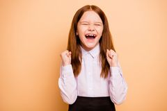Close-up portrait of nice attractive lovely cheerful cheery overjoyed pre-teen girl great cool news dream yes attainment. Close-up portrait of nice attractive royalty free stock photo