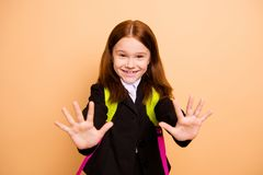Close-up portrait of nice attractive lovely sweet cheery cheerful confident positive pre-teen girl learner wearing. Close-up portrait of nice attractive lovely stock photo
