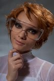 Close-up portrait of nice woman scientist stock images