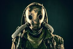 Portrait of post apocalyptic survivor in gas mask Royalty Free Stock Photo