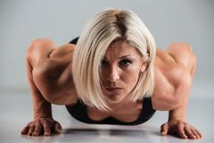 Close Up Portrait Of A Confident Muscular Adult Sportwoman Royalty Free Stock Images