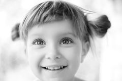 Close-up Portrait Of A Girl Black-and-white Royalty Free Stock Photography