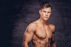 Close-up Portrait Of A Shirtless Young Man Model With A Muscular Body And Stylish Haircut Posing At A Studio Royalty Free Stock Photos