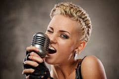 Close-up Portrait Of A Steam Punk Singer. Royalty Free Stock Photo