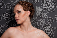 Free Close Up Portrait Of Beautiful Girl With Face Art Royalty Free Stock Photography - 13496547