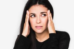 Free Close Up Portrait Of Brunette Pretty Woman With Headache Touching Her Face, Look Up. Beautiful Woman Stressed And Worry Royalty Free Stock Photos - 140292428