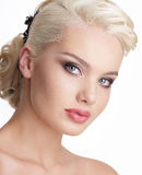 Close Up Portrait Of Charming Blond Woman With Natural Clean Skin Stock Photo