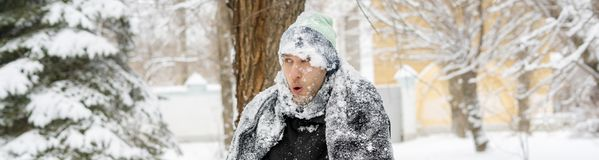 Free Close Up Portrait Of Frost Man Face Covered By Snowy Scarf And Hat Outdoor, Winter Concept F Stock Photography - 135884522