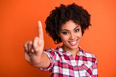 Free Close-up Portrait Of Her She Nice Attractive Cheerful Cheery Content Wavy-haired Lady Wearing Checked Shirt Giving 1 Stock Photos - 152223073