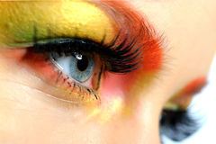 Close-up Portrait Of Summer Creative Eye Make-up Stock Photography