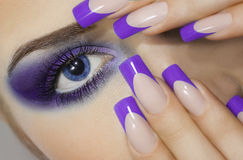 Close Up Portrait Of Young Woman With Big Blue Eyes And Prefect Manicure. Royalty Free Stock Images