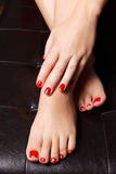 Close-up portrait of painted nails Royalty Free Stock Photography