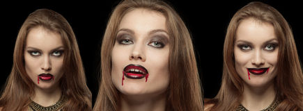 Close-up portrait of a pale gothic vampire woman. On a black background, collage of three photos Royalty Free Stock Image