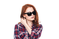 Close-up portrait of a pensive girl with dark glasses Royalty Free Stock Photo
