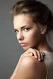 Close-up portrait  of a pensive woman. Close-up portrait of a blonde pensive  young pretty woman with natural make-up Stock Images